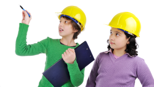 Two children in construction hats