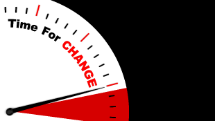 Illustration of clock that says Time for Change