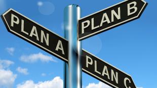 Three street signs that say Plan A, Plan B, and Plan C