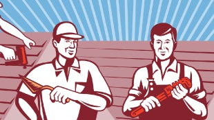 Cartoon of two men working on roof