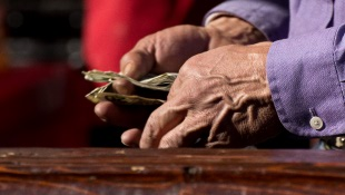 Focus on two hands counting bills over wooden table