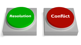 A green resolution button next to a red conflict button